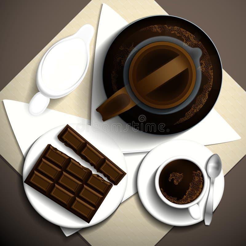 Frukostkopp kaffe vektor illustrationer