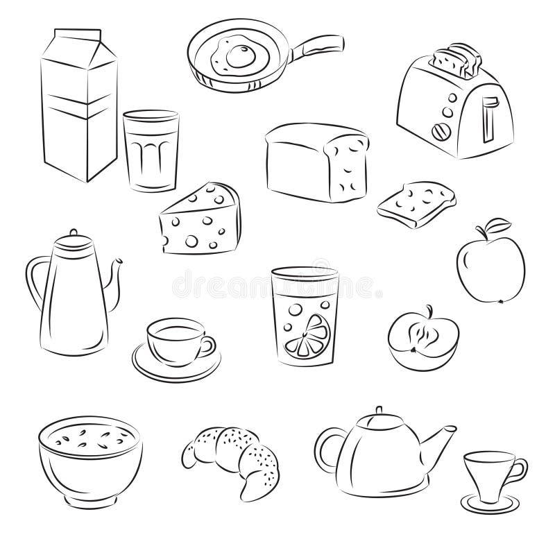 frukostmat royaltyfri illustrationer