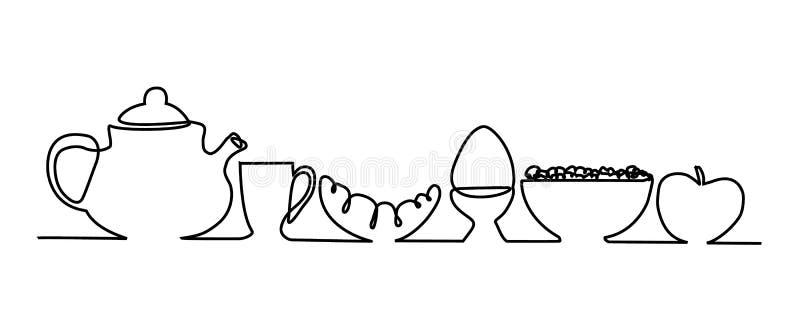 Frukostmeny stock illustrationer