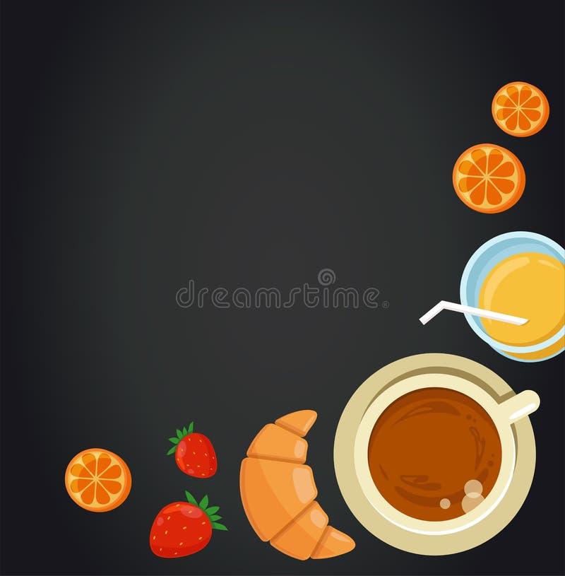 Frukostmeny med den svart tavlan vektor illustrationer