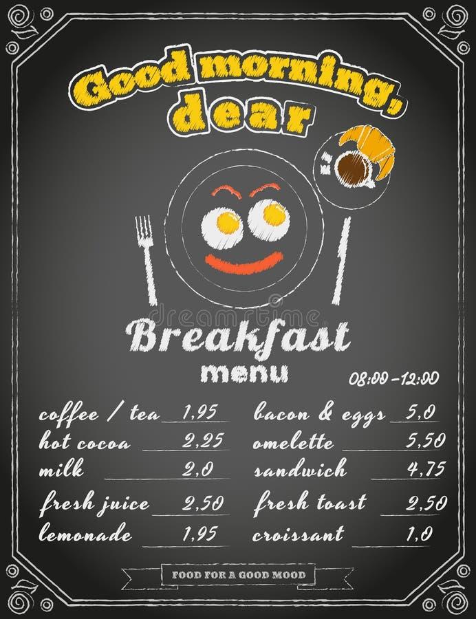 Frukostmeny på den svart tavlan royaltyfri illustrationer