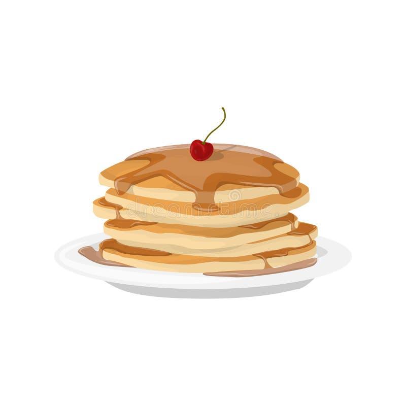 Frukostpannkakaplatta royaltyfri illustrationer
