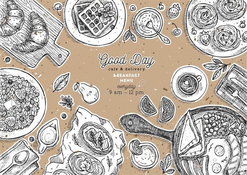 Frukostpappbakgrund Olik matbakgrund Inristad stilillustration Hjältebild också vektor för coreldrawillustration royaltyfri illustrationer