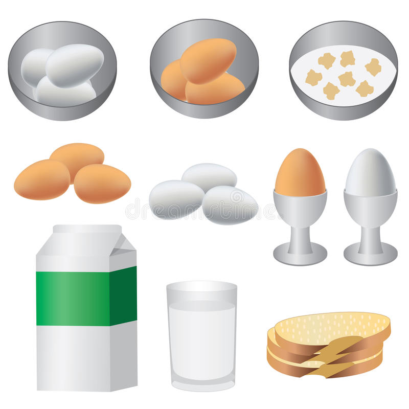 frukostprodukter vektor illustrationer