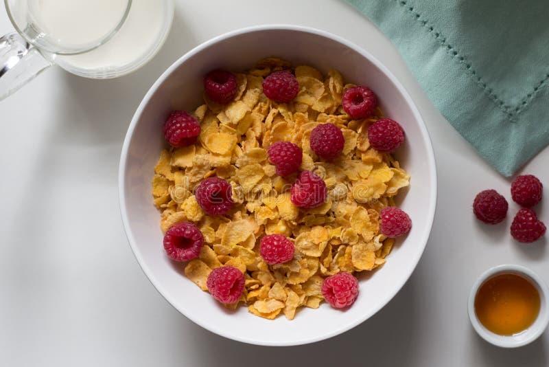 Frukostsädesslag av cornflakes och hallon, honung och mjölkar nolla royaltyfri bild