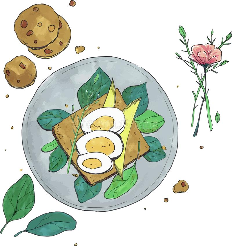 Frukostsmörgås med äggkakor och blommavektorillustrationen royaltyfria foton