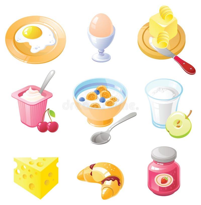 frukostsymbolsset royaltyfri illustrationer
