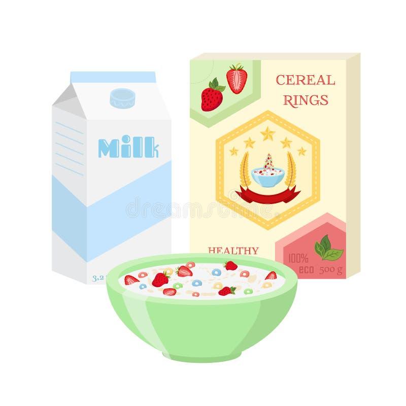 Frukostuppsättningen - mjölka, sädesslag, bär Sund mat i plan stil stock illustrationer