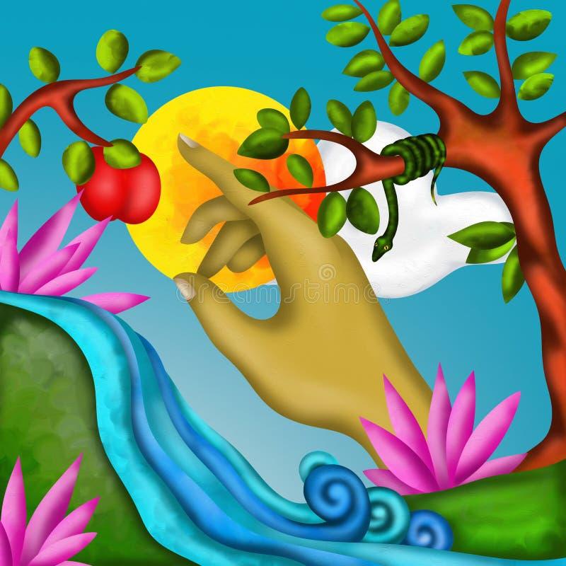 Frukt av synden stock illustrationer