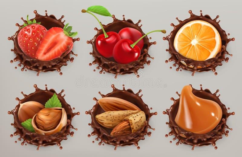 Frukt, bär och muttrar Uppsättning för symbol för vektor för chokladfärgstänk 3d vektor illustrationer