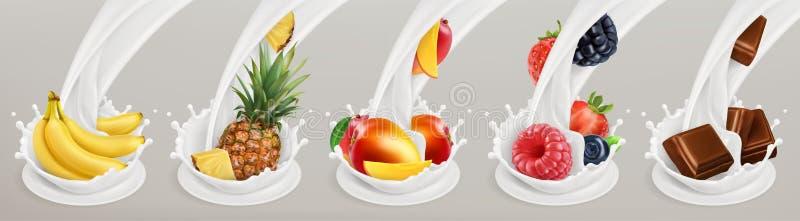 Frukt, bär och yoghurt realistisk ballonsillustration symboler för pappfärgsymbol ställde in vektorn för etiketter tre vektor illustrationer