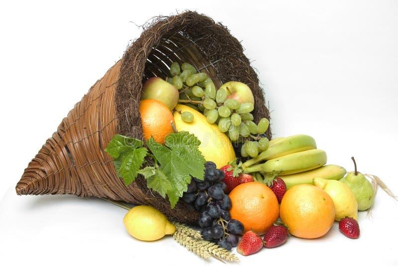 frukt för 4 ymnighetshorn royaltyfri bild