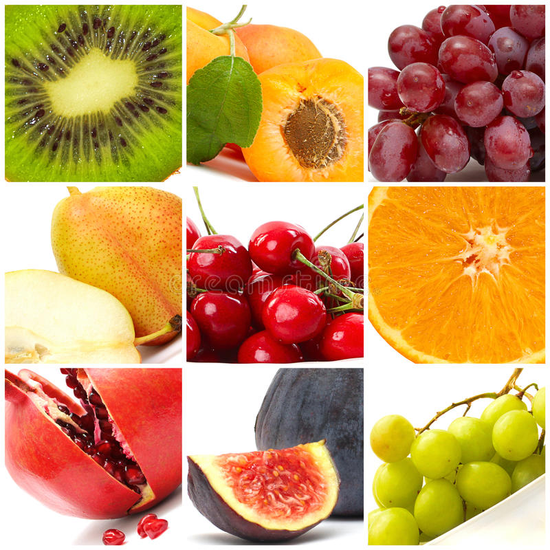 frukt för mat för bakgrundscollage färgrik arkivfoto