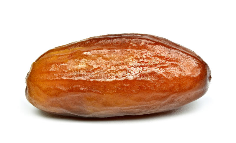 Frukt för torkat datum för singel på vit bakgrund royaltyfria bilder