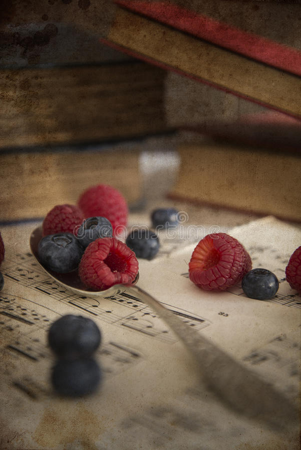 Frukt i tappningtabellinställning med antik utrustning med annonsen fotografering för bildbyråer