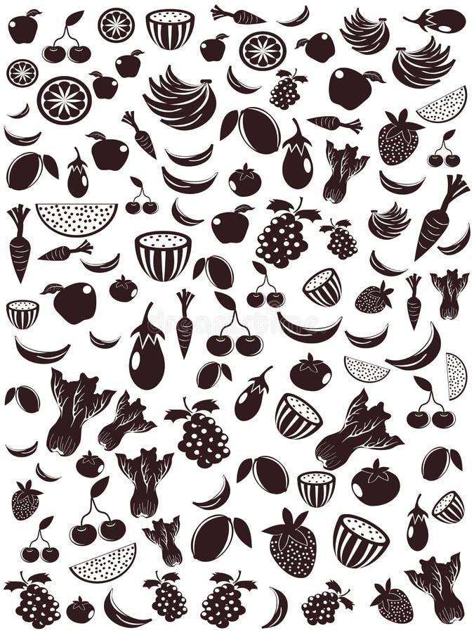 frukt mönsan den seamless grönsaken stock illustrationer