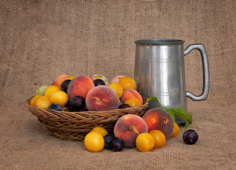 Frukt och öl Gammalmodig frukt från en lång övergiven fruktträdgård med tennsejdel 1 livstid fortfarande arkivfoto