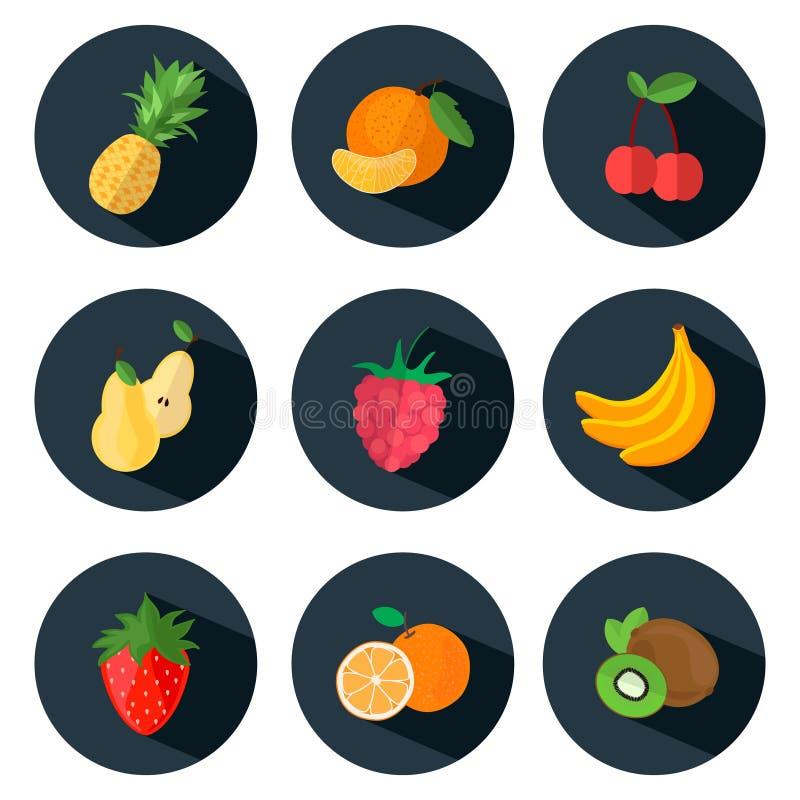 Frukt- och bärsymboler i plan stil vektor illustrationer