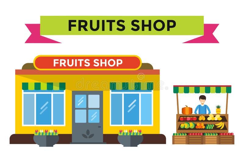 Frukt och grönsaker shoppar stallen royaltyfri illustrationer