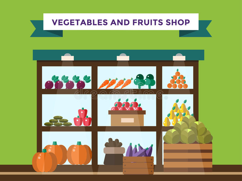 Frukt och grönsaker shoppar stallen stock illustrationer