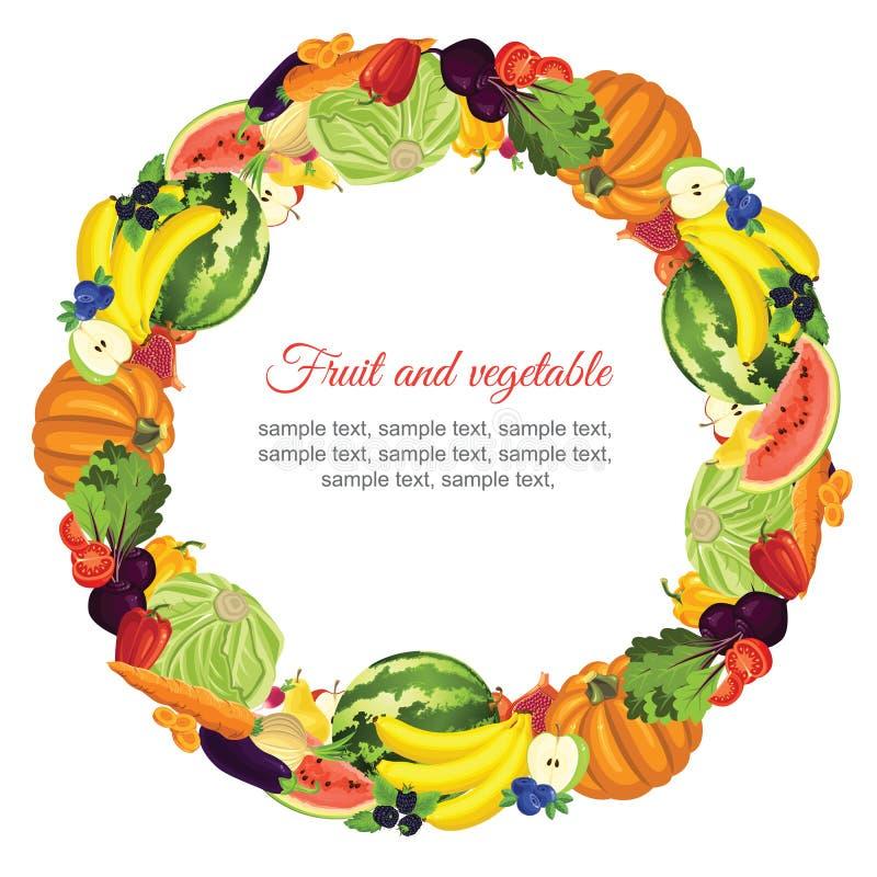 Frukt- och grönsakgirland royaltyfri illustrationer