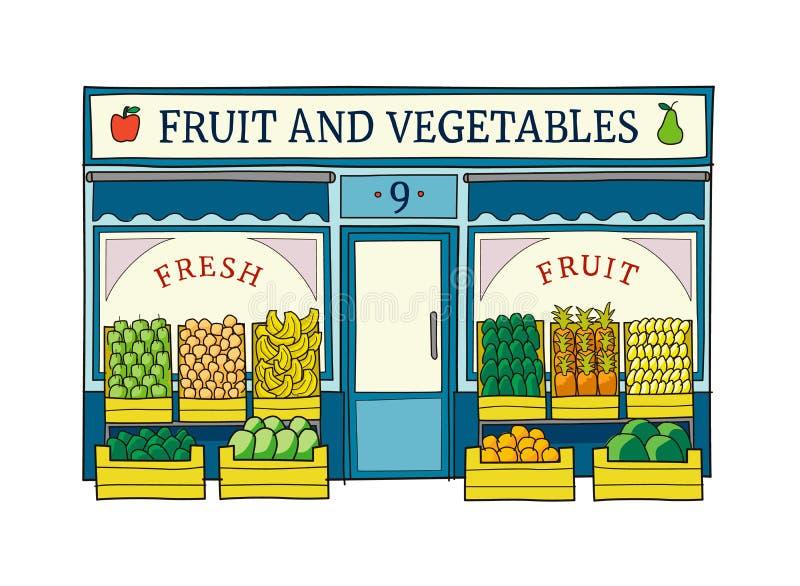 Frukt- och grönsaklagerfasaden räcker den utdragna vektorillustrationen royaltyfri illustrationer
