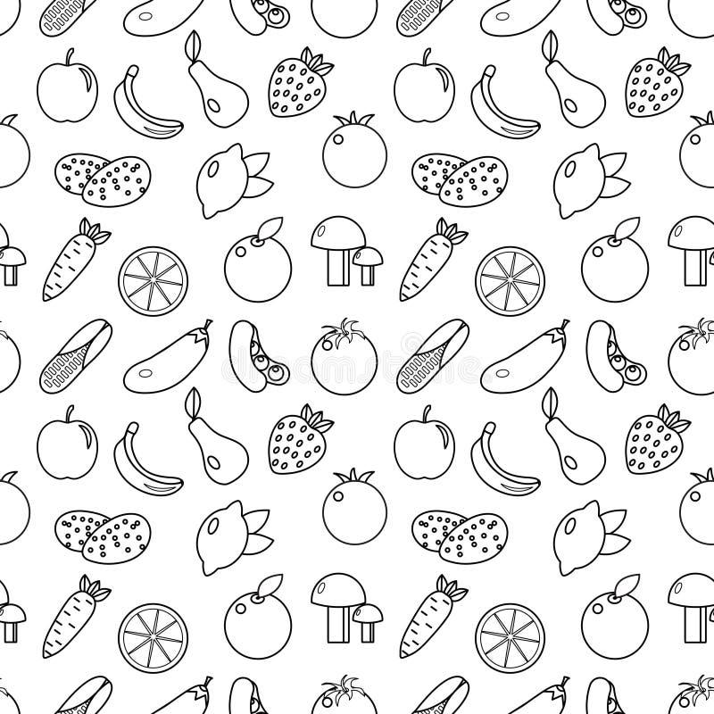 Frukt- och grönsaklinje sömlös modell för stil Frukter och grönsaker klottrar den sömlösa modellen Frukt- och grönsaköversiktslod vektor illustrationer