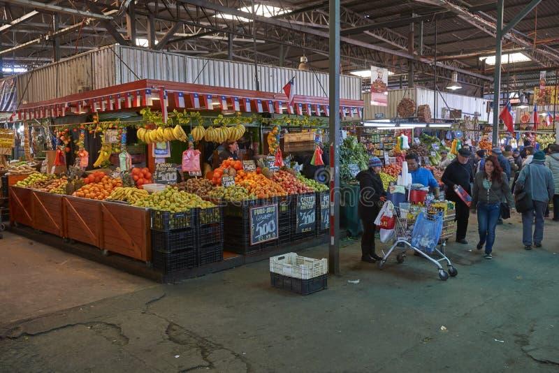 Frukt- och grönsakmarknad i Santiago, Chile arkivbilder