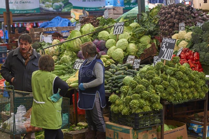 Frukt- och grönsakmarknad i Santiago, Chile royaltyfria bilder