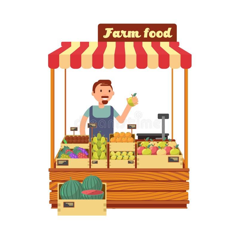 Frukt- och grönsakmarknaden shoppar ställningen med den lyckliga unga illustrationen för vektorn för bondeteckenlägenheten vektor illustrationer