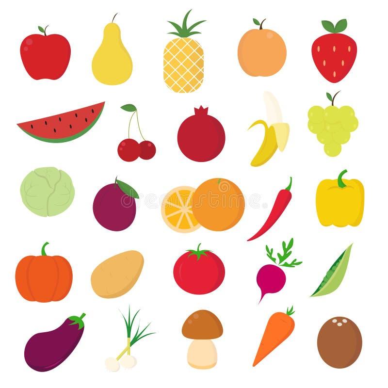 Frukt- och grönsaksymboler ställde in på vit bakgrund för diagrammet och rengöringsdukdesignen, modernt enkelt vektortecken för f royaltyfri illustrationer