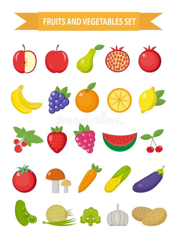 Frukt- och grönsaksymbolsuppsättning, lägenhetstil Frukt-, bär- och grönsakuppsättninguppsättning som isoleras på en vit bakgrund royaltyfri illustrationer