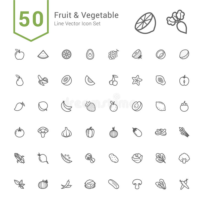 Frukt- och grönsaksymbolsuppsättning 50 linje vektorsymboler stock illustrationer