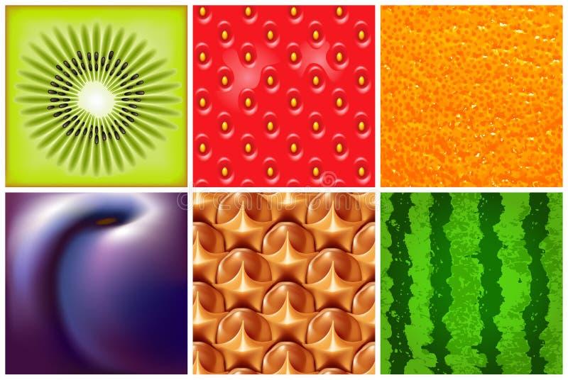 Frukt Olik ny frukt- och grönsakram Detaljerad vektorillustration med saftig frukt Abstrakt elegansmatbakgrund stock illustrationer