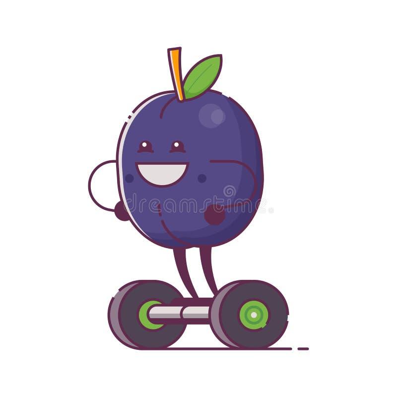 Frukt Plum Character på Gyroscooter vektor illustrationer