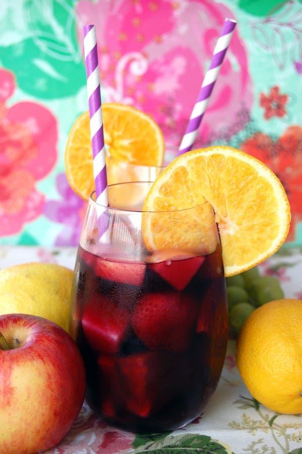 Frukt- rött vinsangria arkivbild