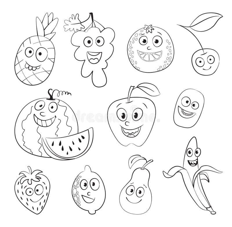Frukt roligt tecknad filmtecken royaltyfri illustrationer