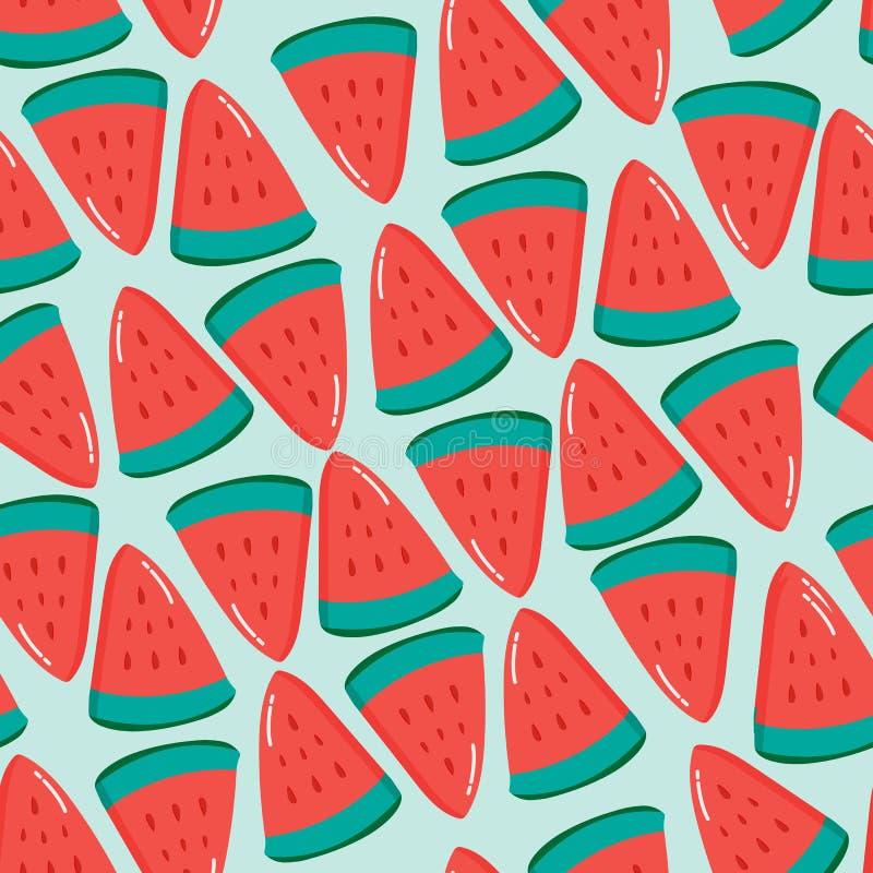 Frukt- sömlös vektormodell med texturerade vattenmelonstycken för vattenfärg målarfärg görad randig bakgrund vektor illustrationer