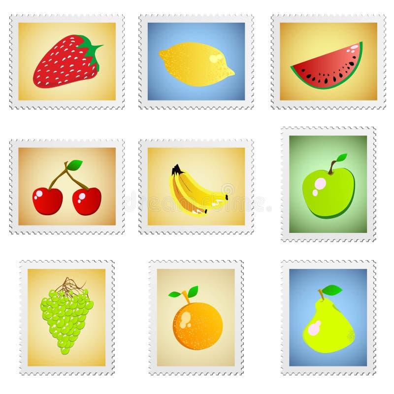 frukt stämplar vektorn royaltyfri illustrationer