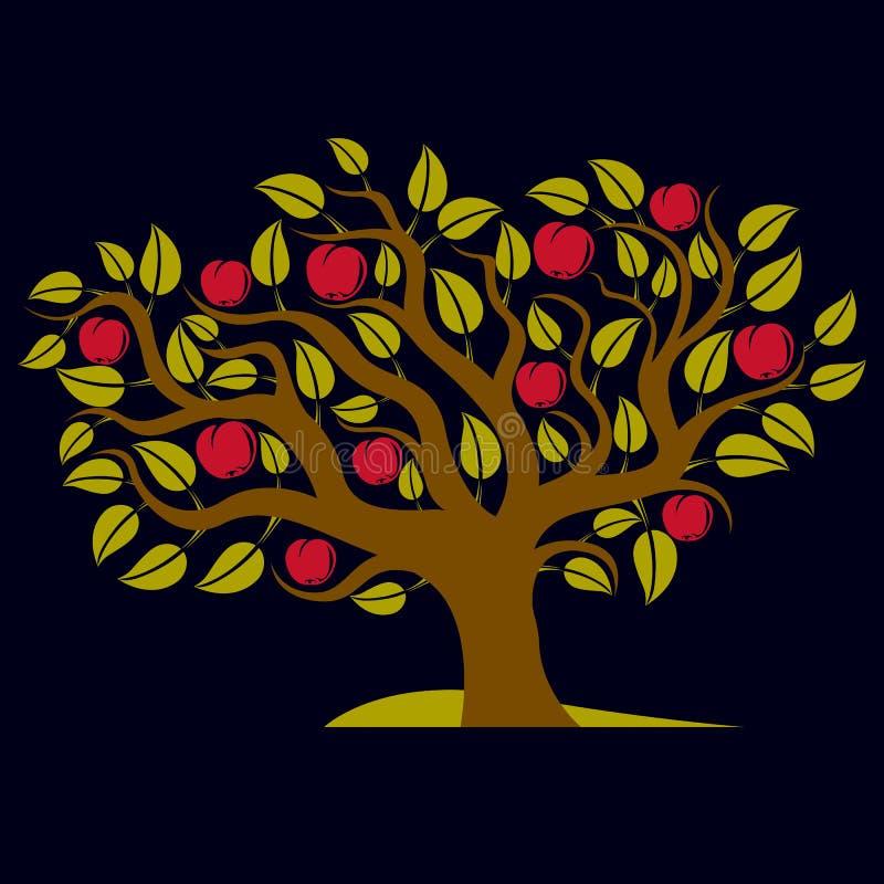 Frukt- träd med mogna äpplen på vit Organiskt och eco stock illustrationer