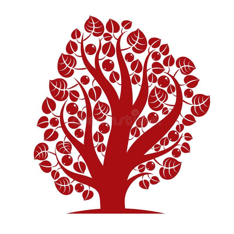 Frukt- träd med mogna äpplen på vit Organiskt och eco vektor illustrationer