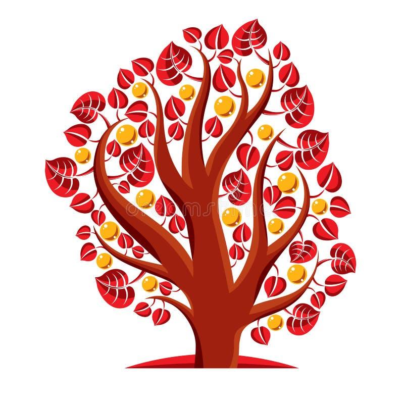 Frukt- träd med mogna äpplen på vit Rikedom och prosp royaltyfri illustrationer