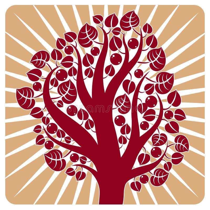 Frukt- träd med mogna äpplen som förläggas på stiliserad bakgrund stock illustrationer