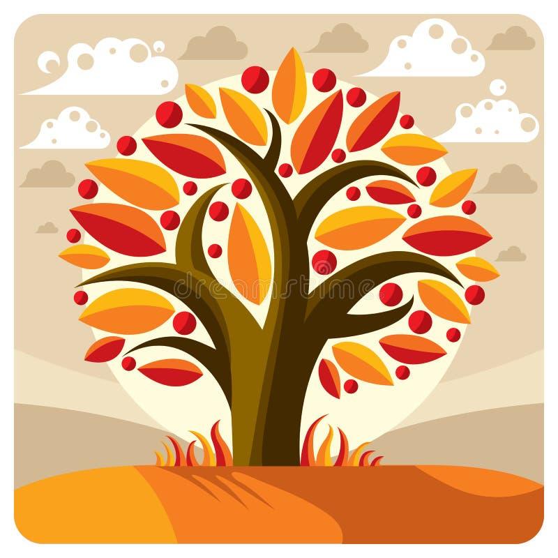 Frukt- träd med mogna äpplen som förläggas på stiliserad bakgrund royaltyfri illustrationer
