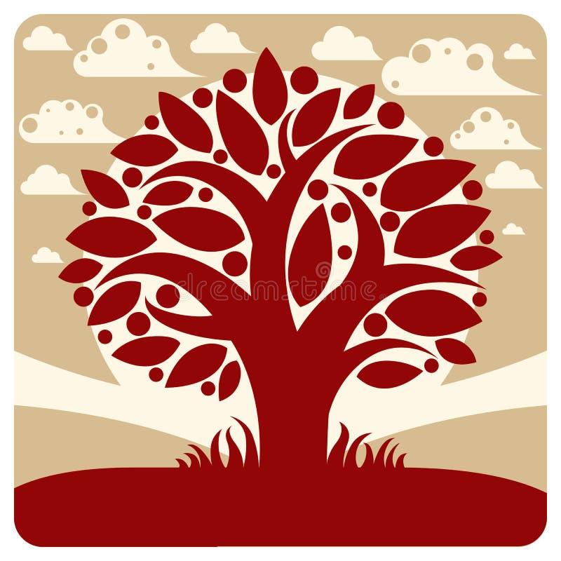Frukt- träd med mogna äpplen som förläggas på stiliserad bakgrund vektor illustrationer