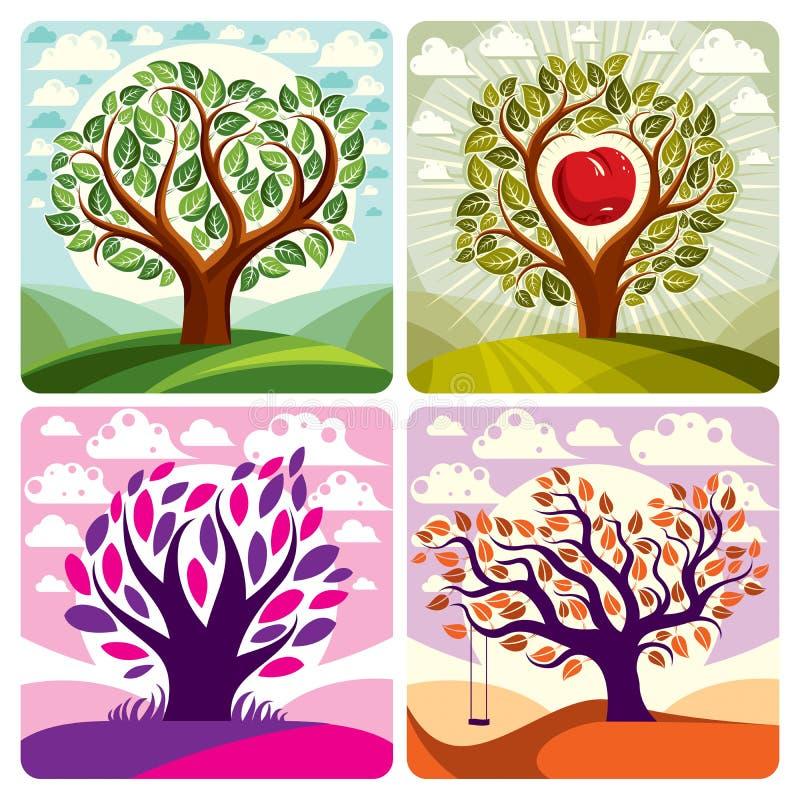 Frukt- träd med mogna äpplen som förläggas på stiliserad bakgrund Orga royaltyfri illustrationer