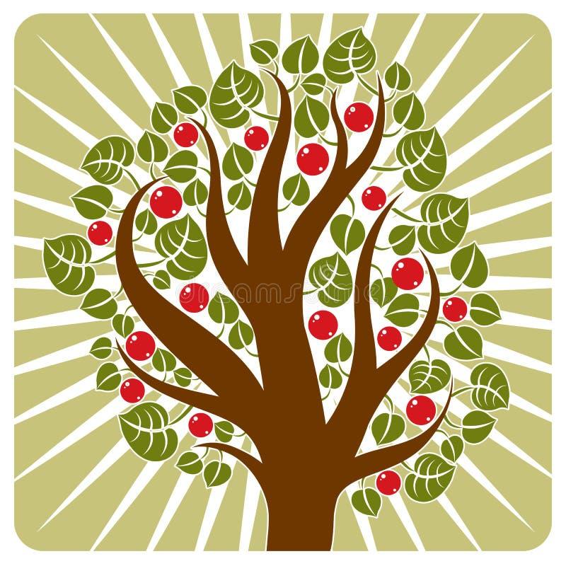 Frukt- träd med mogna äpplen som förläggas på stiliserad bakgrund Orga vektor illustrationer