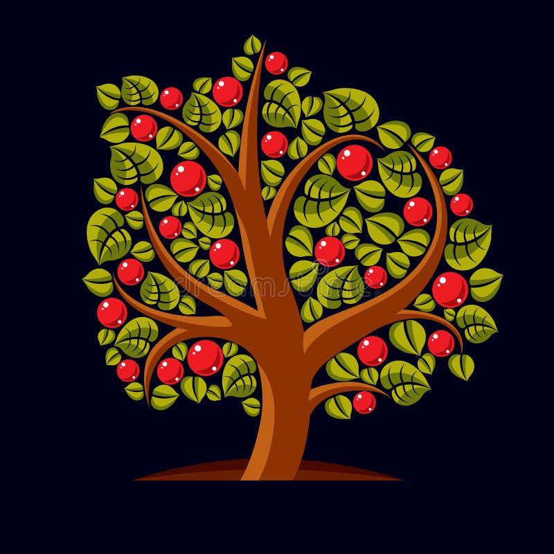 Frukt- träd med mogna äpplen som isoleras på vit royaltyfri illustrationer