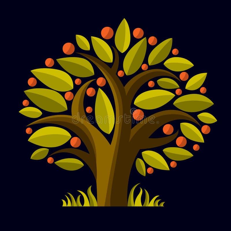 Frukt- träd med mogna äpplen som isoleras på vit organiskt royaltyfri illustrationer