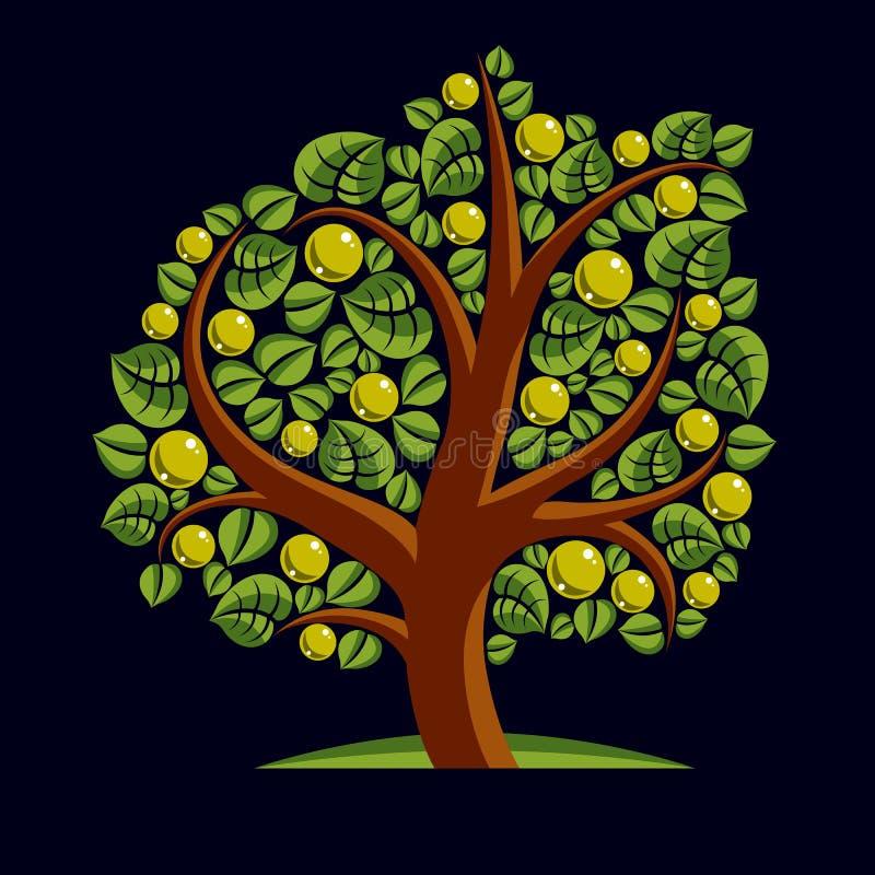 Frukt- träd med mogna äpplen som isoleras på vit Rikedom och prosp vektor illustrationer